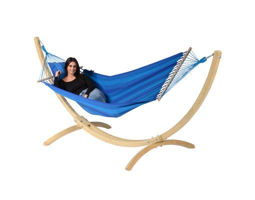 Cama de Rede com Suporte 1 Pessoa 'Wood & Relax' Blue
