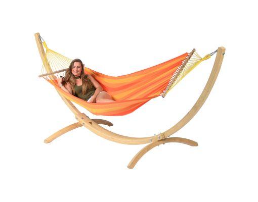 Cama de Rede com Suporte 1 Pessoa 'Wood & Relax' Orange