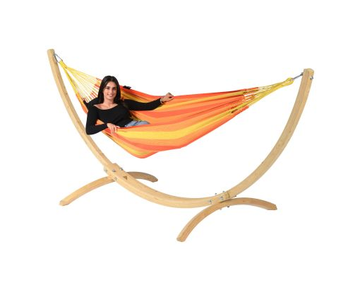 Cama de Rede com Suporte 1 Pessoa 'Wood & Dream' Orange