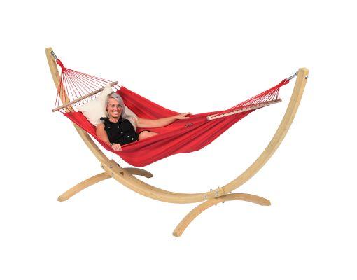 Cama de Rede com Suporte 1 Pessoa 'Wood & Relax' Red