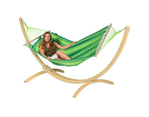 Cama de Rede com Suporte 1 Pessoa 'Wood & Relax' Green